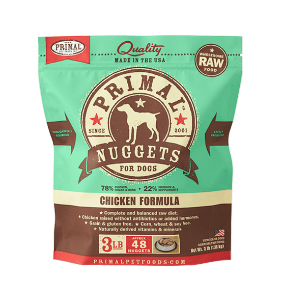 Primal Raw Frozen Canine Chicken Formula Nuggets Dog Food