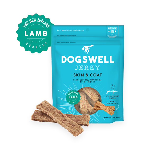 Dogswell Skin & Coat Lamb Jerky Recipe Grain-Free Dog Treats