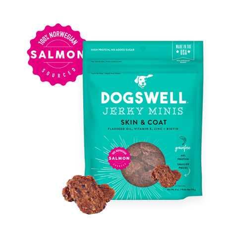 Dogswell Skin & Coat Salmon Jerky Recipe Grain-Free Dog Treats