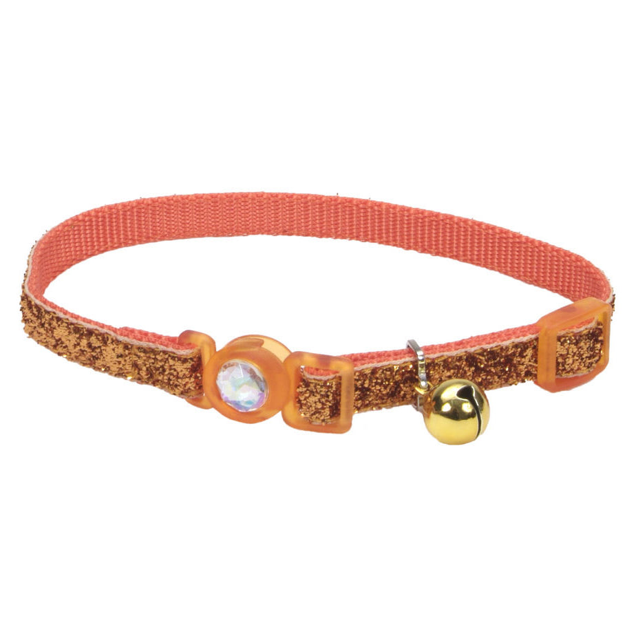 Coastal Pet Products Safe Cat® Jeweled Buckle Adjustable Breakaway Cat Collar with Glitter Overlay in Sunset Orange