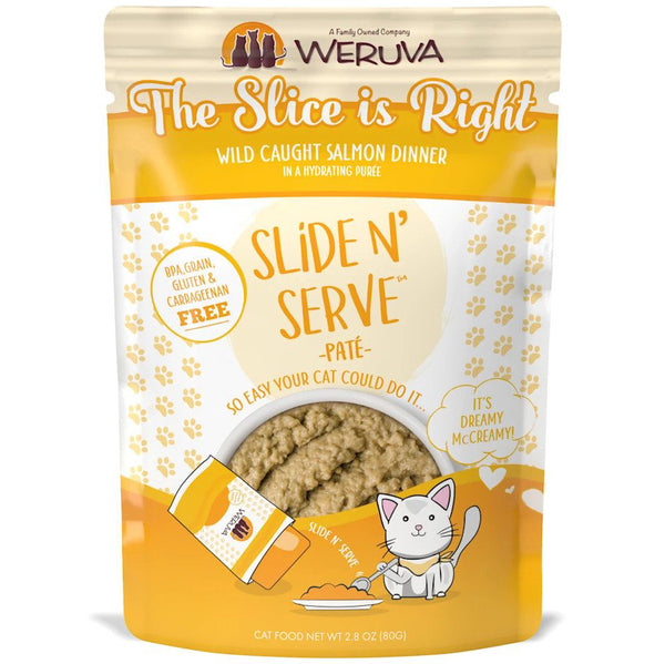 Weruva Slide N' Serve The Slice is Right Wild Caught Salmon Dinner Pate Grain-Free Cat Food Pouch