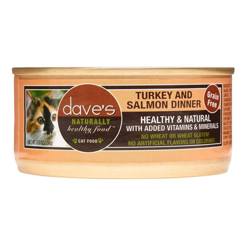 Dave's Naturally Healthy Grain Free Turkey & Salmon Dinner Canned Cat Food