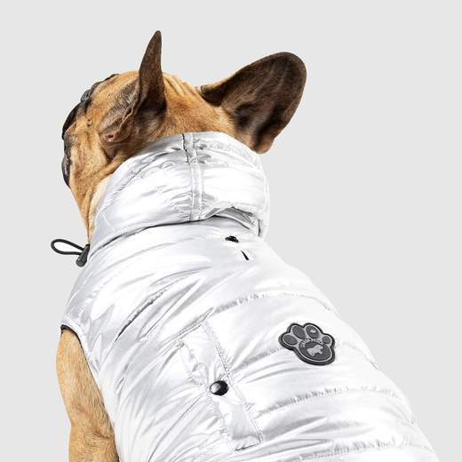 Canada Pooch Shiny Puffer Vest in Silver