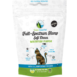 Green Coast Pet Full-Spectrum Soft Chews for Cats - Whitefish Flavor