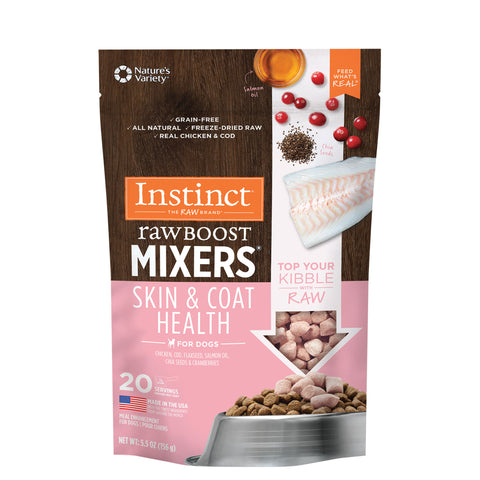 Instinct Raw Boost Mixers Grain-Free Skin & Coat Health Recipe Freeze-Dried Dog Food