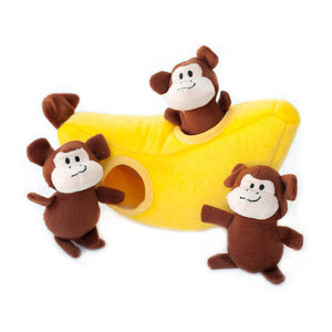 ZippyPaws Zippy Burrow Monkey 'n Banana Puzzle Dog Toy