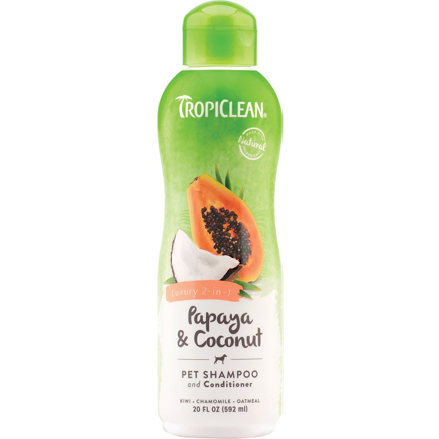 TropiClean Shampoo & Conditioner Papaya & Coconut Luxury 2-in-1 Cleansing Formula for Dog & Cat