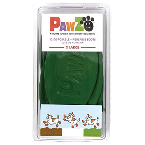 Pawz Waterproof Dog Boots, Dark Green, 12 Count