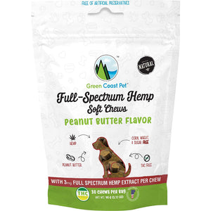 Green Coast Pet Full-Spectrum Hemp Soft Chews- Peanut Butter Flavor