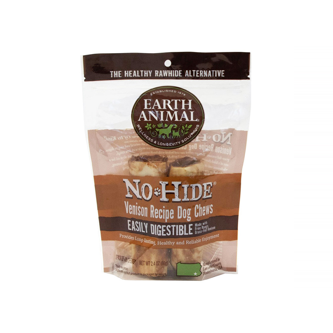 Earth Animal No-Hide Easily Digestible Rawhide Alternative Venison Flavor Dog Chews