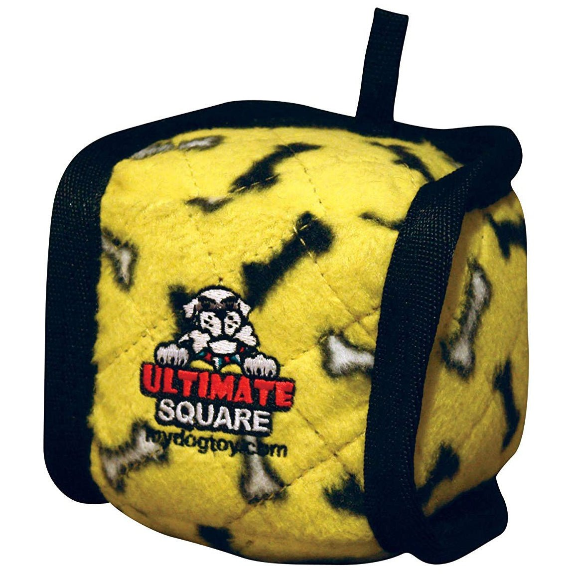 Tuffy Ultimate Square Ball Yellow Bones Dog Toy