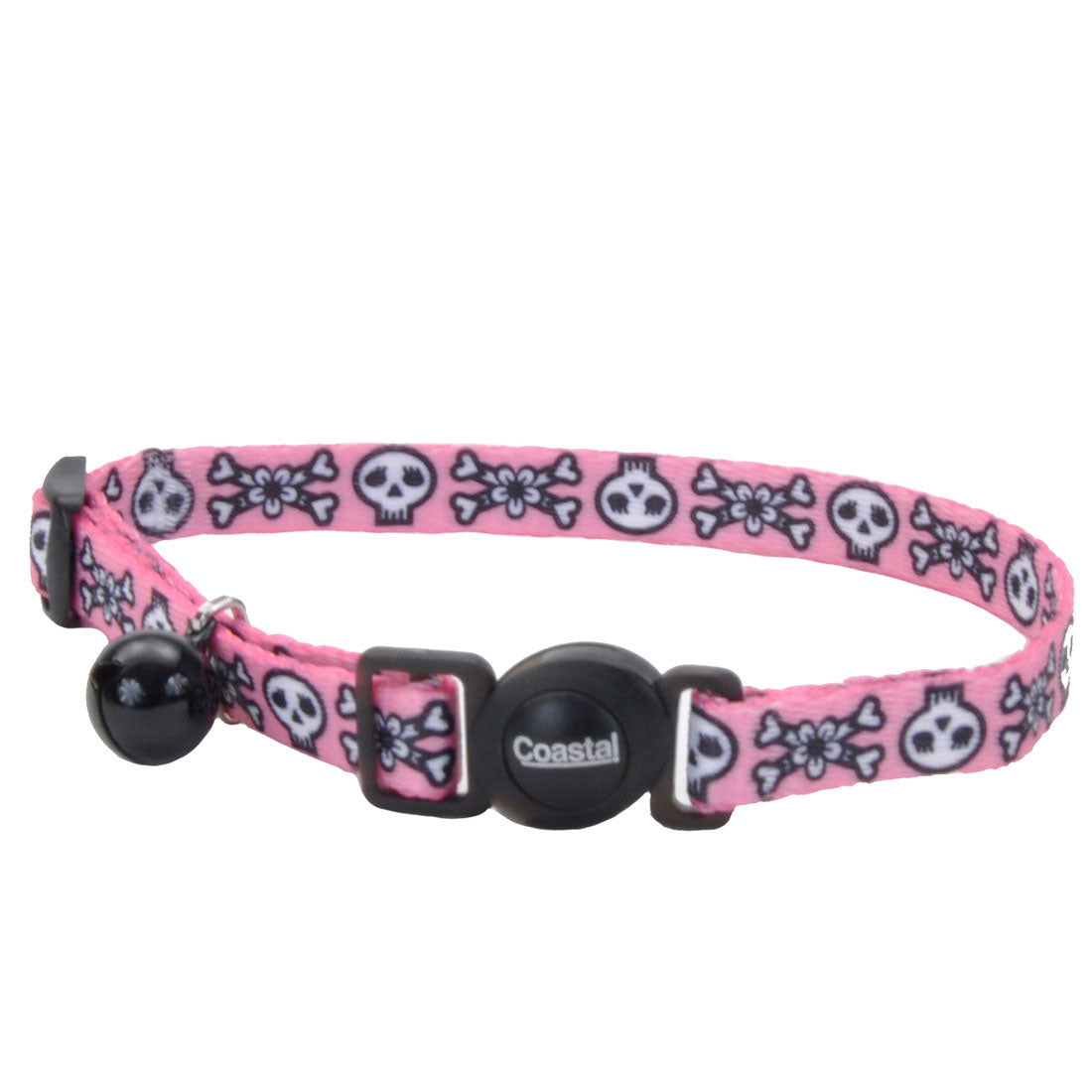 Coastal Pet Products Safe Cat® Fashion Adjustable Breakaway Collar in Skulls Pink