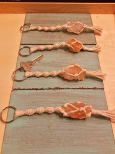 Macrame Keychains with Mini Himalayan Salt Rock - Shelter Shadow Designs