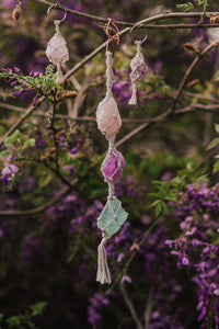 Three Crystal Car Charm - Rose Quartz, Amethyst, and Rainbow Fluorite - Shelter Shadow Designs