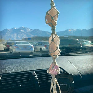 Rose Quartz Crystal and Amethyst Rear View Mirror Charm // New Car Gift // Hanging Crystals - Shelter Shadow Designs