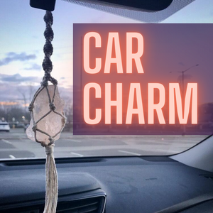 Himalayan Salt Macrame Rear View Mirror Charm - Shelter Shadow Designs