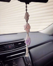 Load image into Gallery viewer, Rose Quartz Crystal and Amethyst Rear View Mirror Charm // New Car Gift // Hanging Crystals - Shelter Shadow Designs