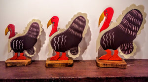 Wooden Turkey Sculptures- Singles or Trio