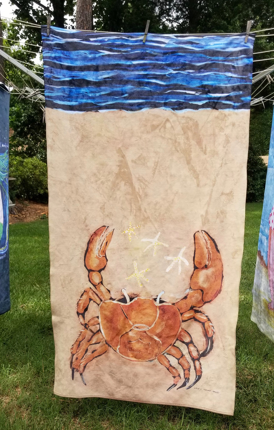 NEW Nancy Thomas Gallery King Size Plush Beach Towels - BEACH CRAB