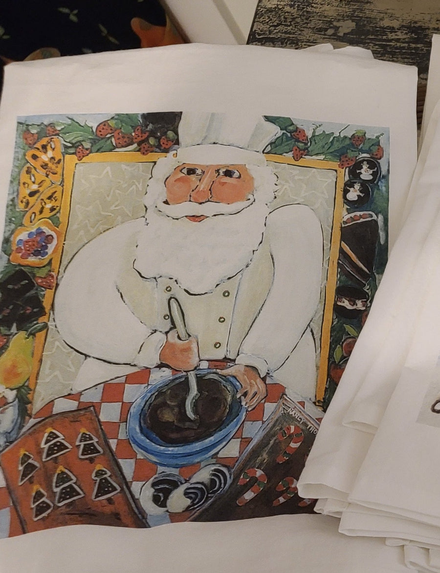 NANCY THOMAS KITCHEN TEA TOWELS - Santa Chef