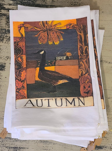NEW! NANCY THOMAS KITCHEN DISH TOWELS - AUTUMN GOOSE