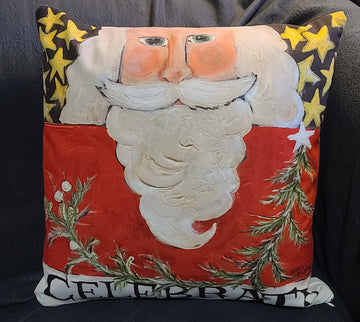 NANCY THOMAS PILLOWS - Santas - Celebrate Santa (Red)