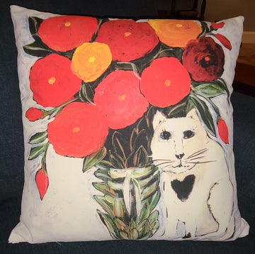 NANCY THOMAS PILLOWS - Cat with Flowers