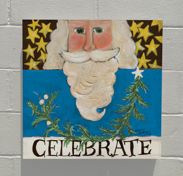 Gallery Canvas - Celebrate Santa - Blue
