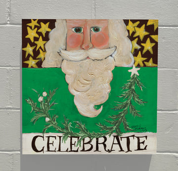 Gallery Canvas - Celebrate Santa - Green
