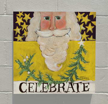 Gallery Canvas - Celebrate Santa - Yellow
