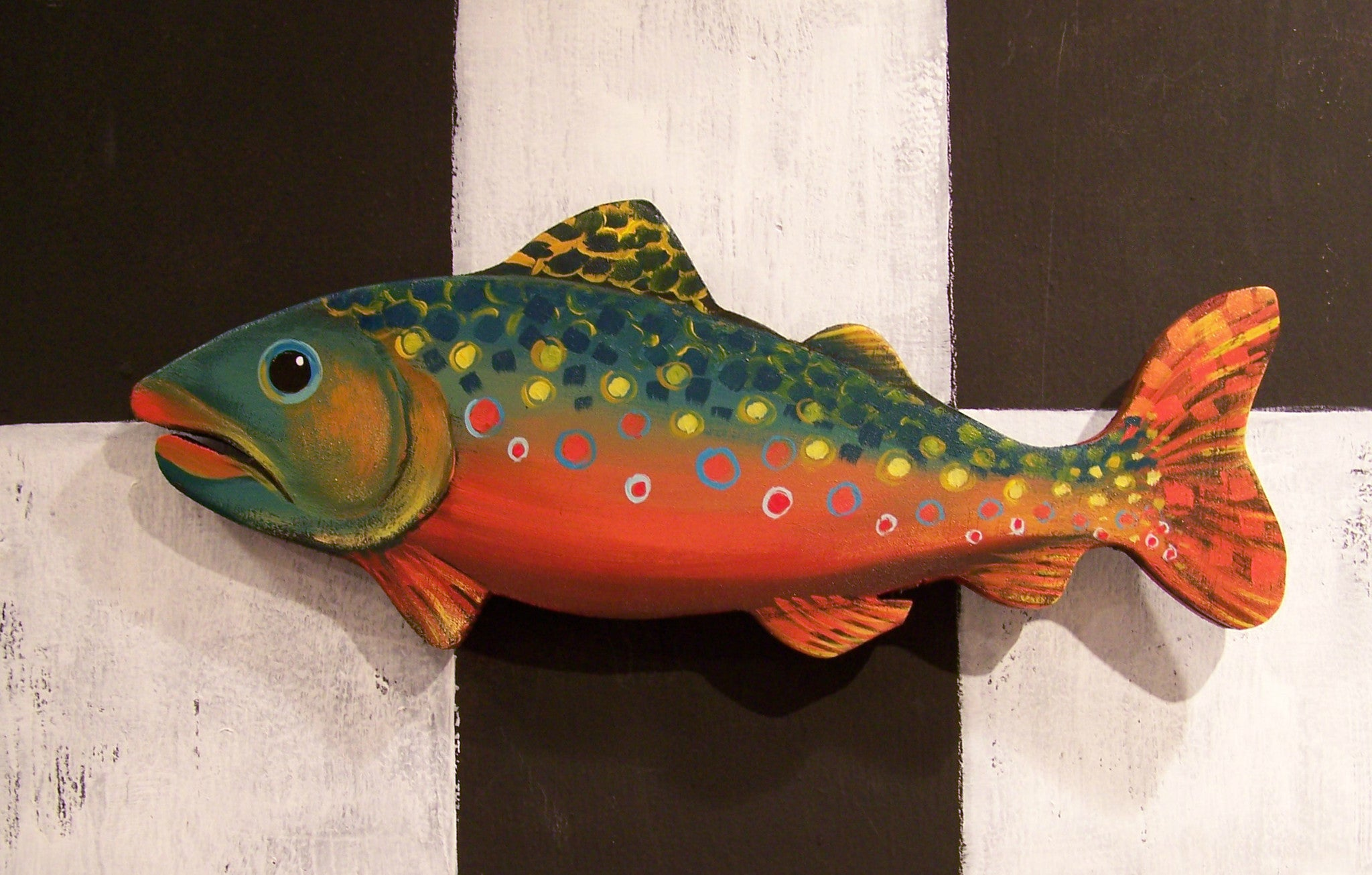 FISH! - Colorful Trout Wooden Wall Sculpture 13""