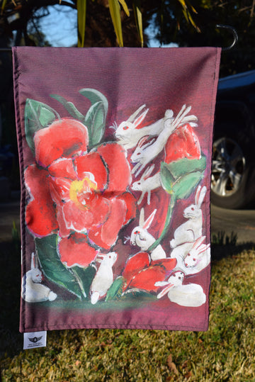 YARD FLAGS - RABBITS & FLOWERS