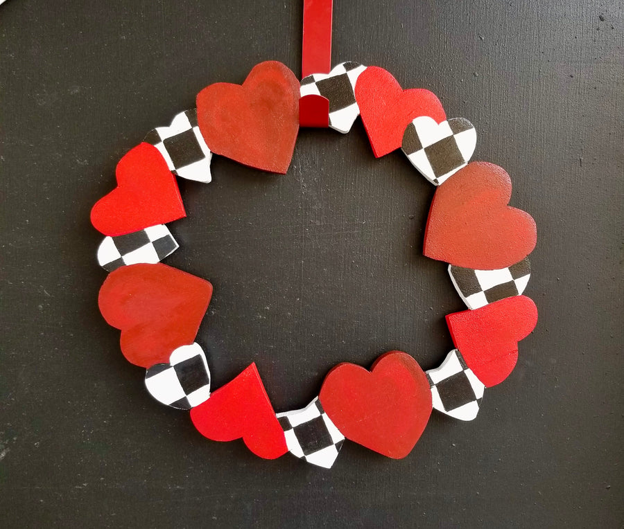 Heart Wreath - Red / Black&White Checks