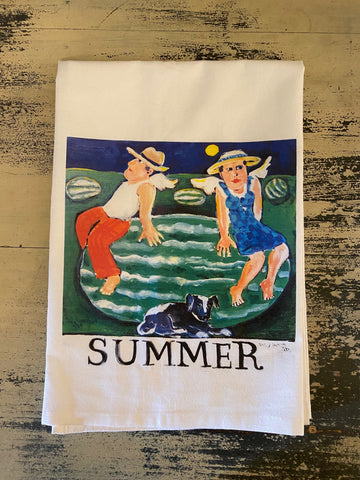 NANCY THOMAS KITCHEN TEA TOWELS - Angel Series - Summer