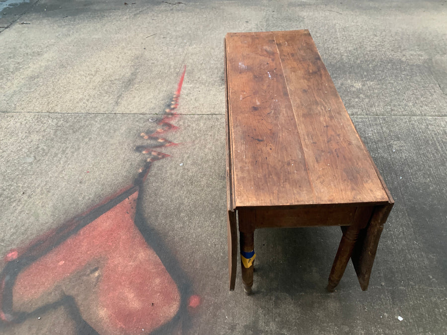 Antique Table 2- 6 Leg Walnut 2 Drop Leaf