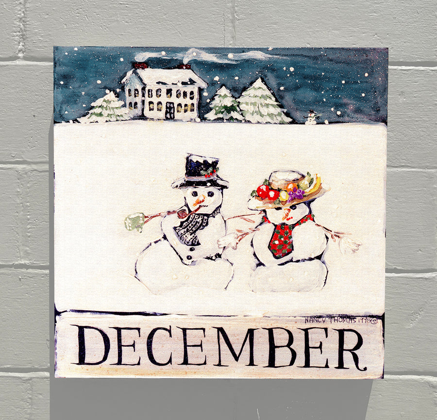 Gallery Canvas - December Snowman Couple - Original Month Series