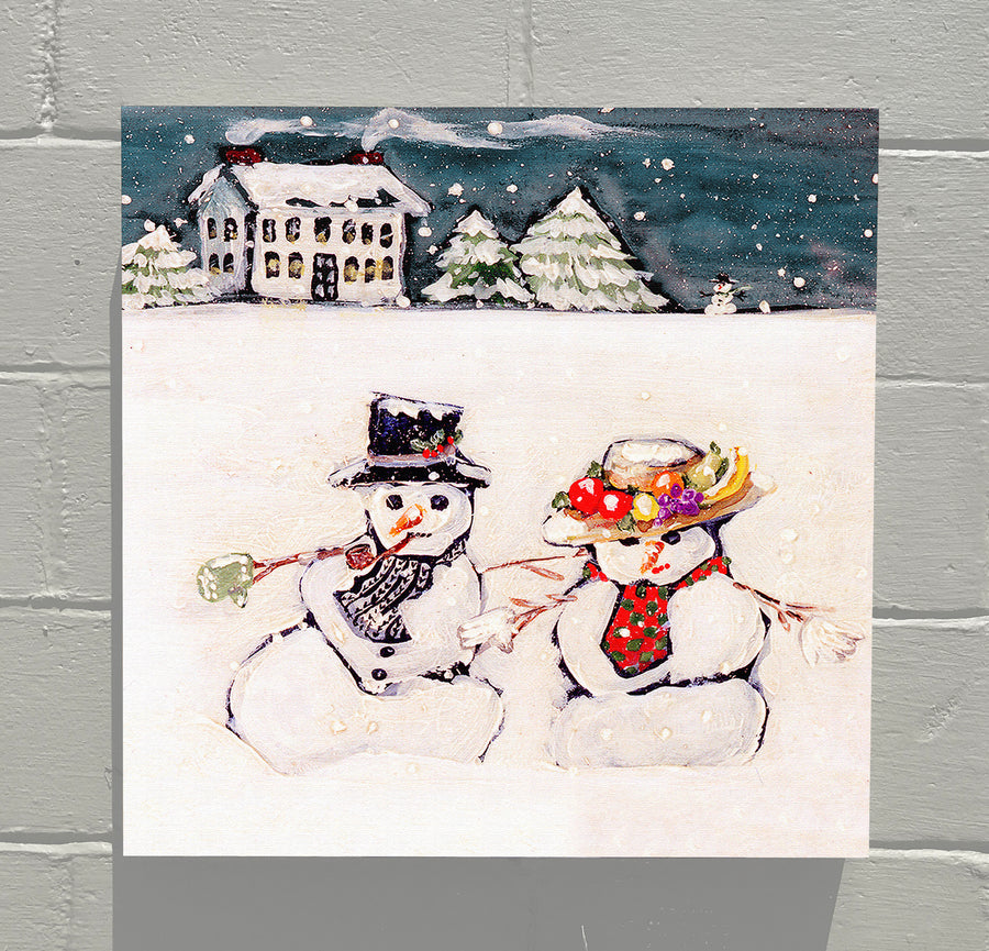 Gallery Canvas - December Snowman Couple - Original Series No Month