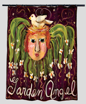 Nancy Thomas Gallery Shower Curtains - GARDEN ANGEL