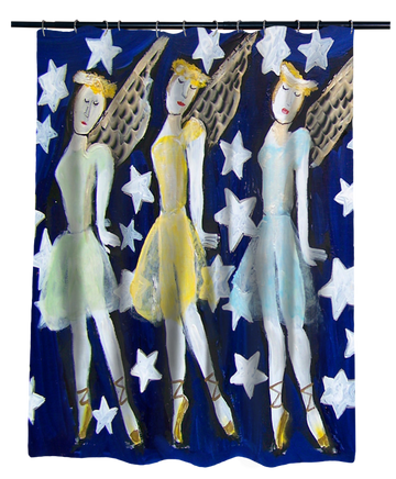 Nancy Thomas Gallery Shower Curtains - Three Angels