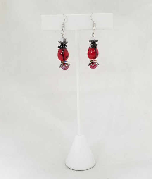 "LT Earrings - ""LADYBUG BLUE"""