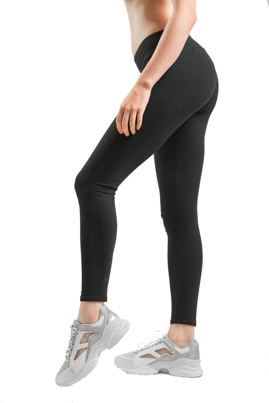 Womens Cotton Spandex Basic Full Length Classic Leggings
