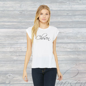 Womens CHOSEN Flowy Muscle Tee ~ White