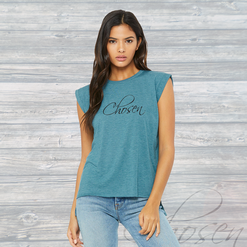 Womens CHOSEN Flowy Muscle Tee ~ Heather Deep Teal