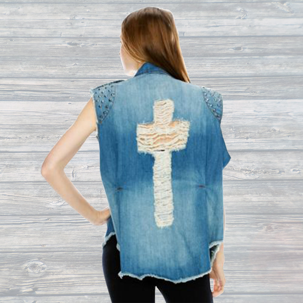 Studded Cross Distressed Denim Vest