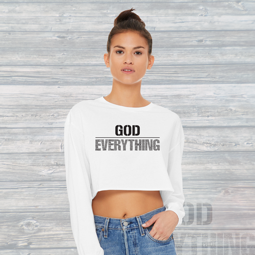 Womens God Over EVERYTHING Long Sleeve Raw Hem Crop Top White
