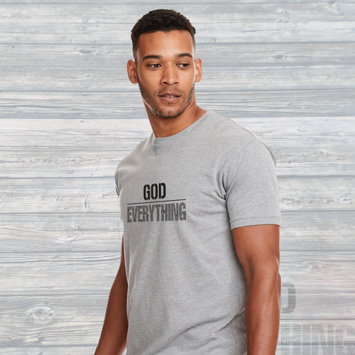 Unisex God Over EVERYTHING T-Shirt Deep Heather Grey