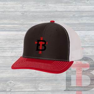 The TB Trucker Hat ~ Black & White & Red