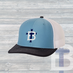 The TB Trucker Hat ~ Columbia Blue & White & Navy