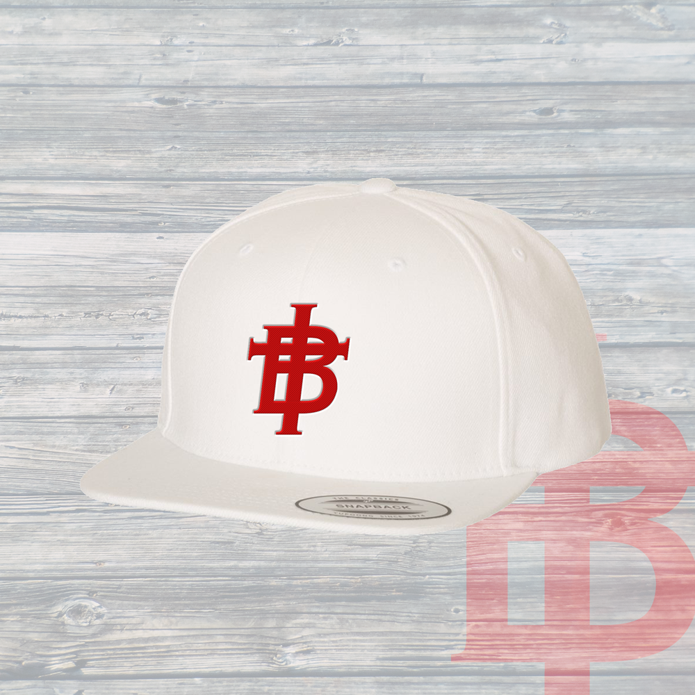 The TB Hat ~ White & Radical Red Logo