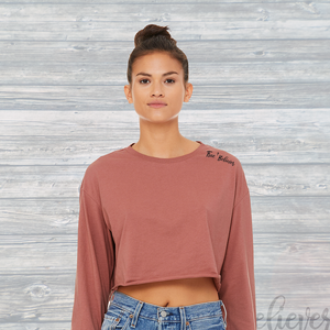 Womens True Believer Long Sleeve Rew Hem Crop Top Mauve